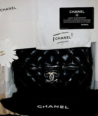 d2888c4fa559 Auth CHANEL Silver Chain Black Patent Leather Flap Bag In Great Condition