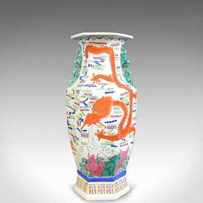 Mid 20th Century, Chinese, Hexagonal, Baluster Vase, Oriental Ceramic Urn