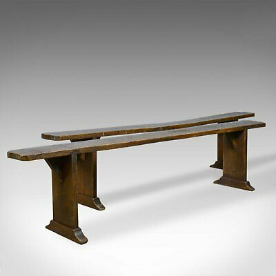 Pair of Antique Benches, Victorian, English, Forms, Oak, Kitchen Dining, c.1900
