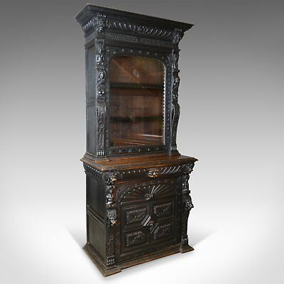 Tall Antique Display Cabinet, Victorian, English, Oak, Cupboard, Green Man c1870