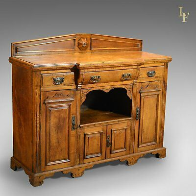 Antique Breakfront Sideboard, Victorian Buffet Cupboard