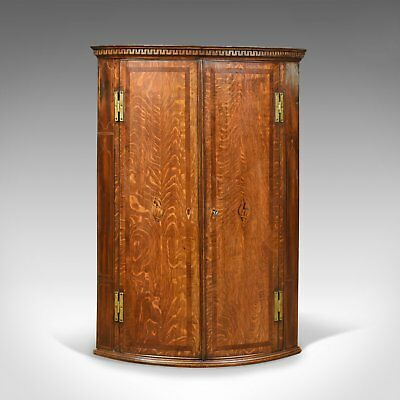 Antique Bow Fronted Corner Cabinet, English, Georgian, Oak, Hanging Circa 1770