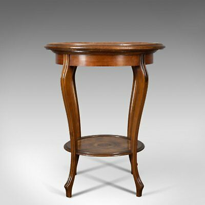 Antique Tea Table, Italian, Mahogany, Leather, Occasional, Side, Circa 1900