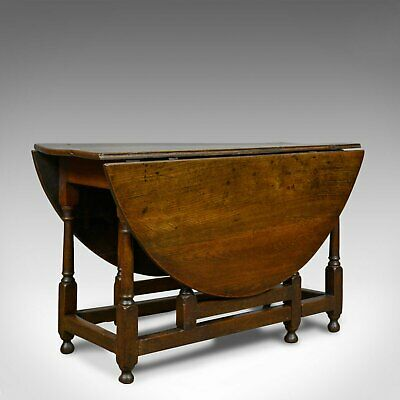 Antique Gate Leg Table, English, Georgian, Oak, Country Kitchen Dining, c.1800