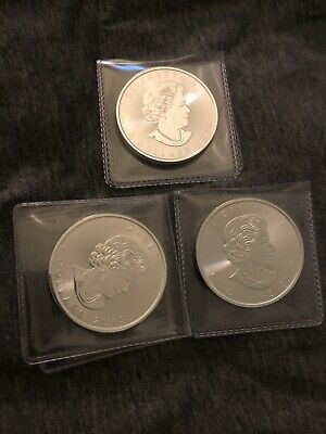 (Lot Of)3 2019 $5 Silver Canadian Maple Leaf 1 oz Brilliant Uncirculated