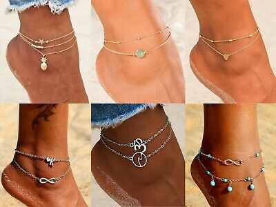 Ladies Women Anklet Ankle Bracelet Chain Silver Gold Boho Fashion Beach Chain Uk