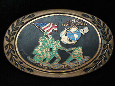 Pf07136 Vintage 1983 **United States Marines** Military Solid Brass Belt Buckle