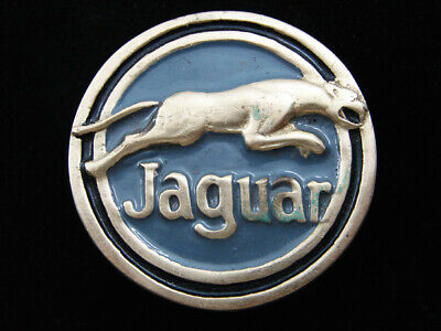 RD13148 VINTAGE 1970s **JAGUAR** CAR COMPANY LOGO SOLID BRASS BELT BUCKLE