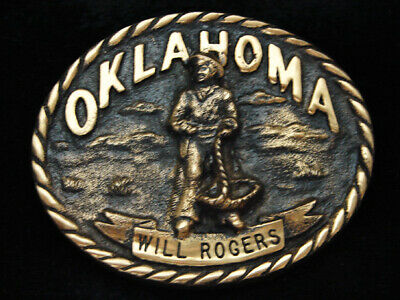 Pd11142 *Nos* Vintage 1980 **Oklahoma Will Rogers** Solid Brass Belt Buckle