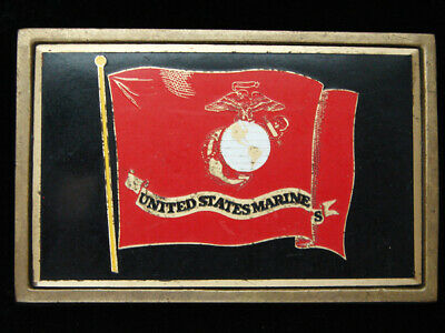 Pf07142 Vintage 1983 **United States Marines** Military Solid Brass Belt Buckle