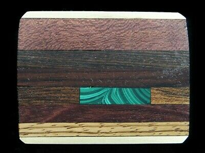RJ15152 VINTAGE 1970s **INLAID WOOD & STONE BANDS** ARTWORK SOLID BRASS BUCKLE