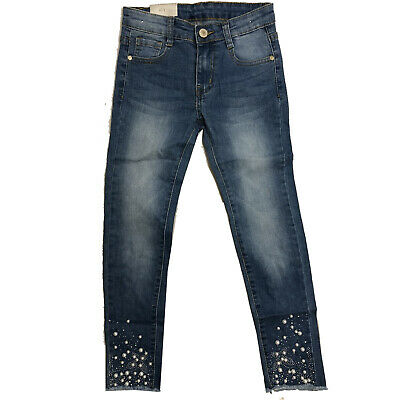 Girls Kids Skinny Pearls Jeans Denim Fashion Stretchy Pants Blue