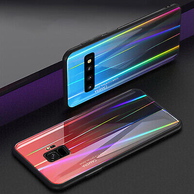 For Samsung Galaxy S10 Plus S10e Note 9 S8+ Luxury Glass Back Case Hybrid Cover