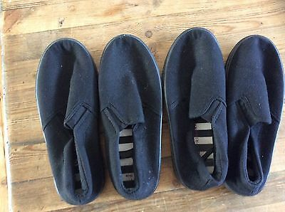 ❤❤❤ Two Pairs Of Size 1 Black Plimsoles ❤❤❤