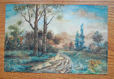"Very Nice 19th Century Watercolor ""Country Road Takes Me Home"""