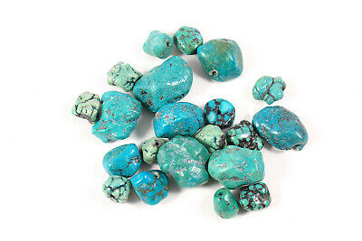 20 Pc. Lot Spider Web Kingman Turquoise Vntg. Beads 23.5 Gms. Craft Jewelry Maki
