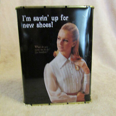 "BLUEQ - Small Tin Bank - 'I'm Savin' Up For New Shoes!"" Unused, 4 1/2"" x 3 1/2"""