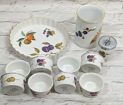 Bundle Royal Worcester Evesham Ramakins  Flan Tart Dish Utensils & Sugar Pot
