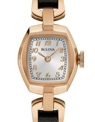 NEW Bulova Ladies Rose Gold Dress Watch with Brown Leather 97L154 - 40% Off