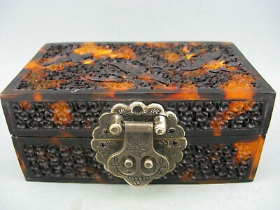 Antique Chinese Old Hawksbill Hand Carved Flower Bird Collectible Jewelry Box