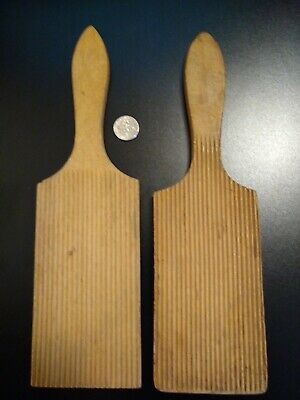 Two BUTTER PADDLES Wooden Treen Vintage Antique Grooved Beveled NICE!