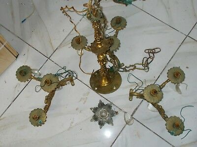 Vintage Brass Chandelier Ceiling Light Fixture Antique Victorian NEEDS Restore