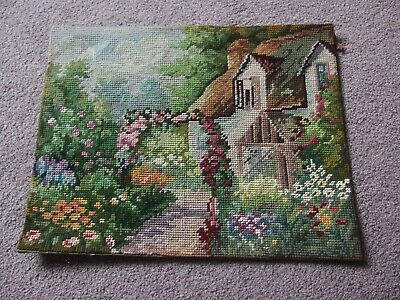 antique vintage hand worked tapestry 1930s