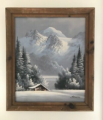 """Original Framed Oil Painting  - Signed """"Siman"""" - Probably the Alps - Beautiful!"""