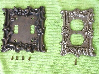 Vtg. Victorian Antique Gothic Style Rose 2-Light Metal Switch Cover & Outlet Set