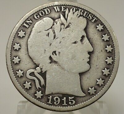 1915-S United States Barber Liberty head silver half dollar, #62099B