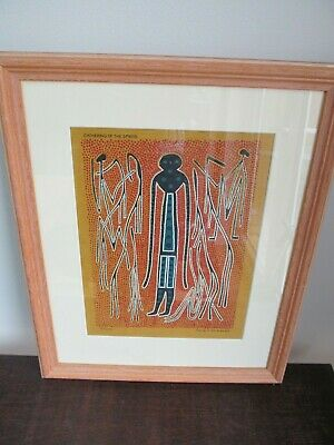 Framed Aboriginal Art Print On Canvas - Phillip Hall - Gathering Of The Spirits
