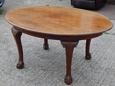 Antique solid mahogany oval dining table with ball and claw feet entrance table