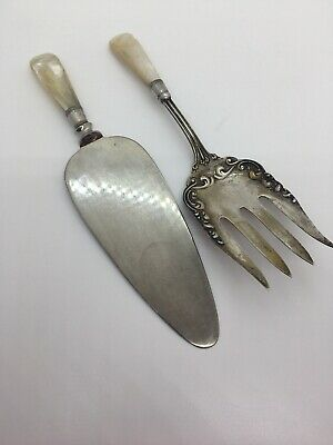 Antique Mother-of-Pearl Handle SERVING FORK and CAKE SERVER - Sterling band