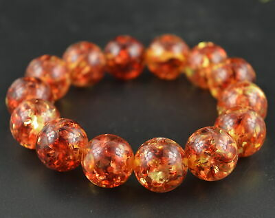AAA Decorate CollecT China Handmade Amber & Resin Inlay Leaf Elastic Bracelet