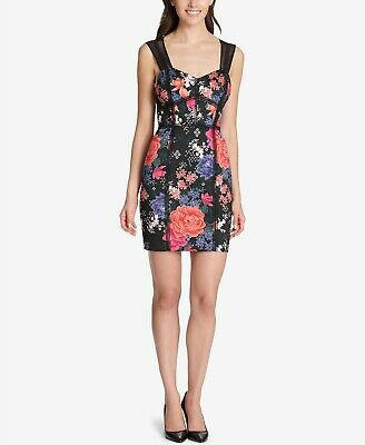 da114bb7 New $150 Guess Women's Black Pink Floral V-Neck Bodycon Cocktail Dress Size  10