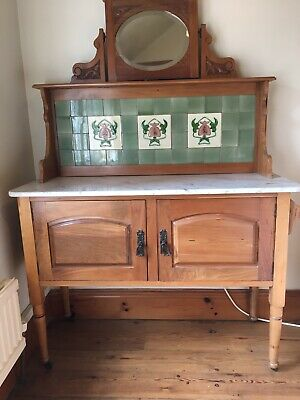 Antique Art Nouveau Tiled Washstand with mirror Sideboard Bedroom Dining room