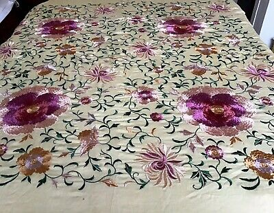 Vintage Chinese Silk Embroidered Piano Shawl Vibrant Colours