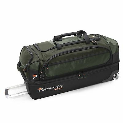 "New Olive Pathfinder Gear 36"" Drop Bottom Rolling Wheeled Duffel Bag Duffle"