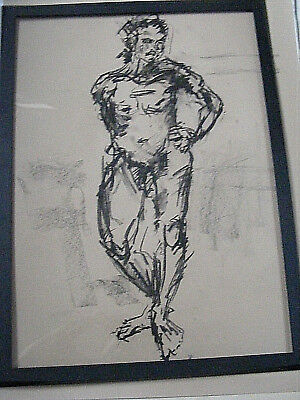 Figure life drawing nude expressive, charcoal /paper, man standing, A1/A2 size @
