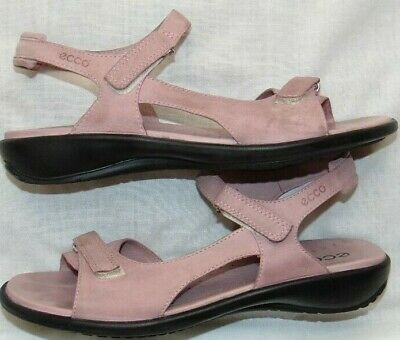 a1f094600ca4 ECCO WOMENS LEATHER Strappy Sandal Lavender Low Wedge Comfort Euro ...