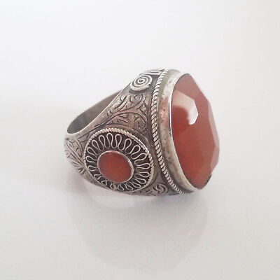 Vintage Hippie Boho Afghan Tribal Ethnic Silver Ring Faceted Carnelian Size 8