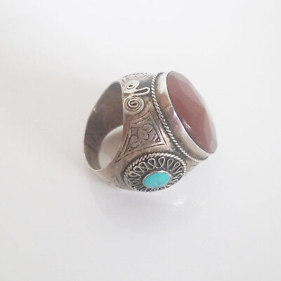 Vintage Hippie Boho Afghan Tribal Ethnic Silver Ring Carnelian Turquoise Size 9