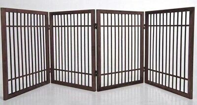4 Panel Solid Wood Folding Pet Dog Gate Strong and Durable with 2 Way Hinges