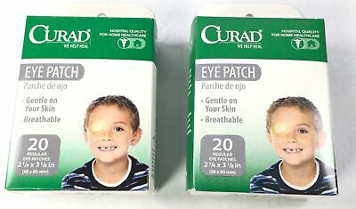"""CURAD Eye Patches Regular 20 Count 2 Pack Bundle 2 1/4"""" X 3 1/8"""" Gentle"""