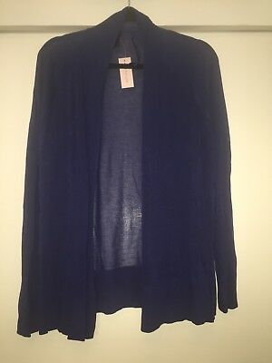 NWT Ann Taylor Womens Top Size LP Blue Open Front Blouse Long Sleeves MSRP $69
