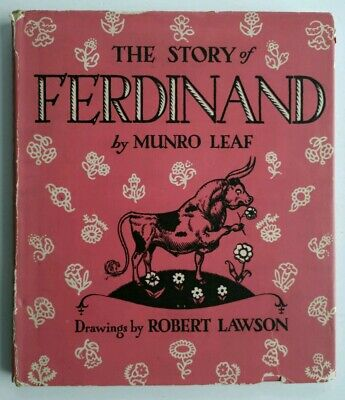 Signed by Author Munro Leaf Ferdinand The Bull 1938 Hardcover Book Robert Lawson