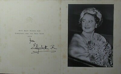Queen Elizabeth II Mother Autograph Signed Christmas Card King George VI Consort