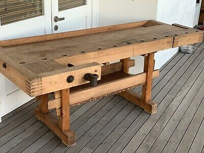Antique Carpenters Bench Work Bench - Side Table