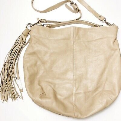 a53c697f19e Gianni Chiarini Slouchy Hobo Shoulder Bag Beige Leather Made In Italy