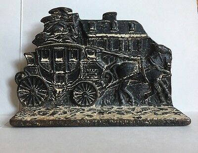 Antique Cast Iron Horse Drawn Carriage Buggy Wagon Bookend Doorstop